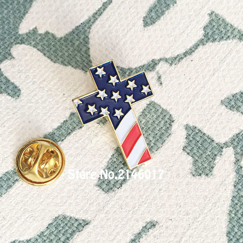 10pcs Wholesale American US Patriotic Religious Jewelry Enamel Lapel Pins  Brooch Christian Cross Pin Badge with USA Flag