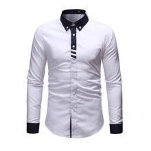 Spring Autumn Features Shirts Men Casual Jeans Shirt New Arrival Splice Long Sleeve Slim Fit Male