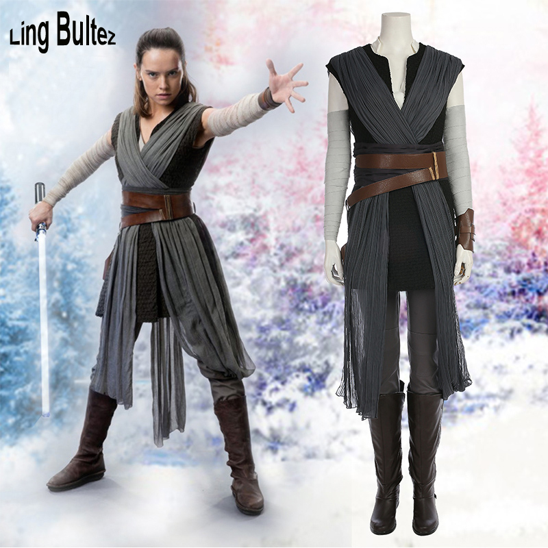 Ling Bultez High Quality Star Wars 8 Cosplay Costume For Woman Rey Cosplay Costume New  Movie Woman Costume