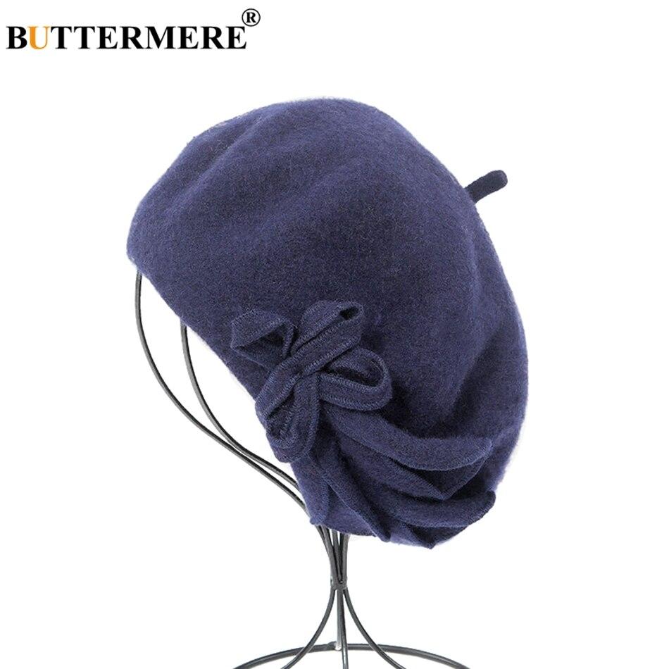 Nombre del producto  BUTTERMERE Boina francesa de lana para mujeres  Amarillo Pintores elegantes Sombreros para mujer Solid Bowknot Casual Mujer  Otoño ... 22c716f2496