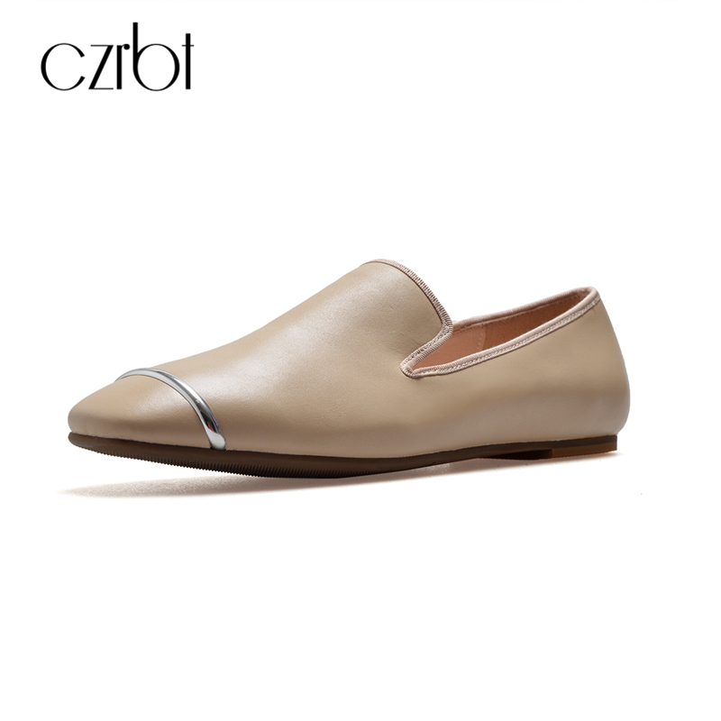 CZRBT Genuine Leather Ballet Flats Plus Size Women Shoes Metal Decoration Solid Color Loafers Autumn Comfartable Flat Shoe Woman beyarne rivets decoration brand shoes flats women spring autumn fashion womens flats boat shoes sexy ladies plus size 11