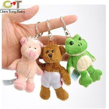 Piglet frog bear plush pendant toy doll mini cute clamshell doll plush keychain 4kinds 8-9 wj04(China)