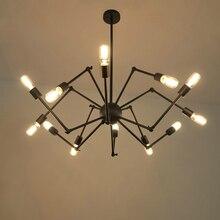 12 cabeza Art Deco araña Lámpara colgante de hierro Loft Luces ajustable E27 para la Sala bar cafe oficina Parlor dormitorio Principal oficina