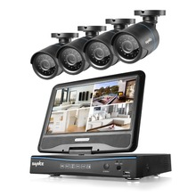 """ANNKE 720 P 8CH Sistema de Vigilancia DVR con una función de 10.1 """"monitor LCD y (4) HD 1280tvl 1.0MP CCTV Cámaras de Bala"""