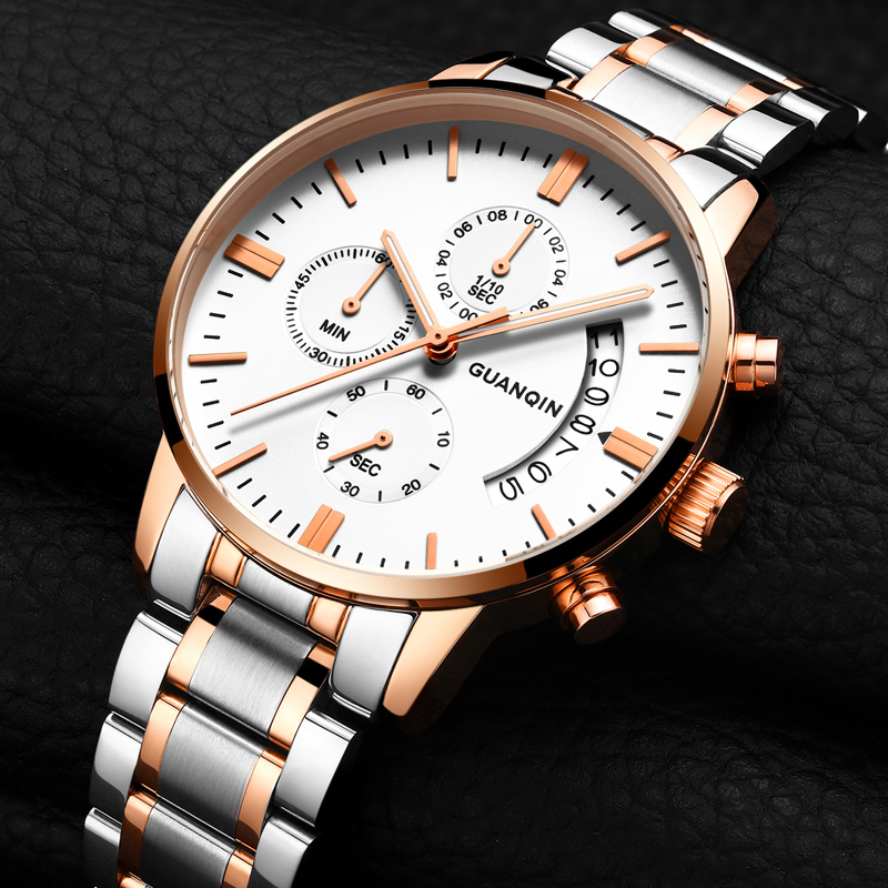 GUANQIN 2017  Business Quartz Watch Men Sport Waterproof Stainless Steel Male Watches Luxury Luminous Clock relogio masculino