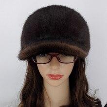 Luxury Handmade Russian Women Wholeskin Real Mink Fur Visor Hats Female  Winter Warm Caps Fashion Headgear 8ee627e226c