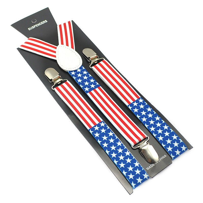 Brand New Americal USA Flag High Quality 2.5cm Wide Men Women Suspender Clip-on Braces Elastic Braces Y- Back Suspenders