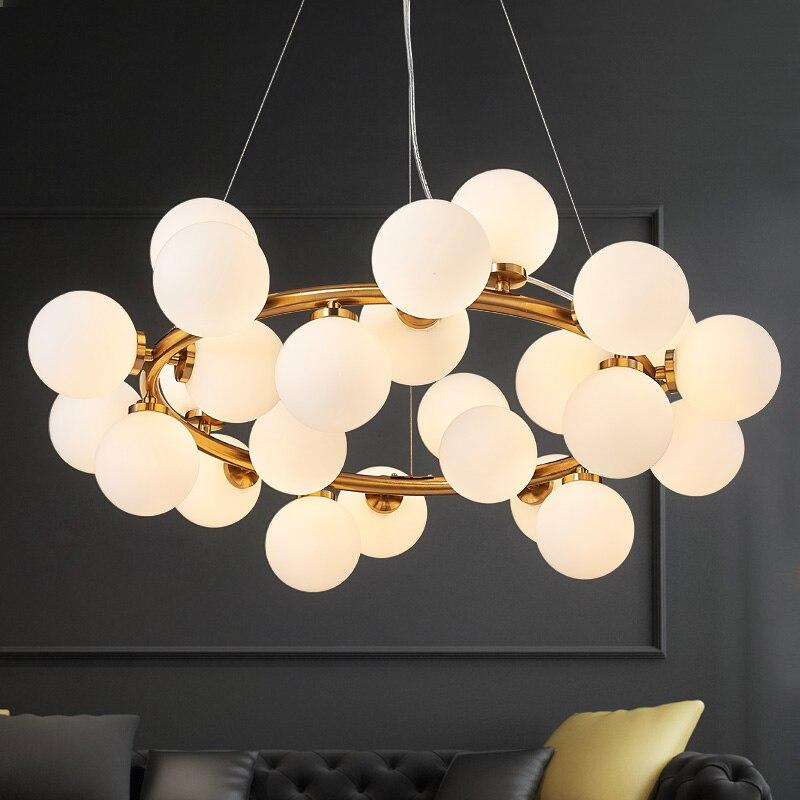 Nordique ADN Pendentif Lampes plafond suspendu lumière LED Vintage Pendentif Lumières pour salon Verre Branche De Haricots Luminaires