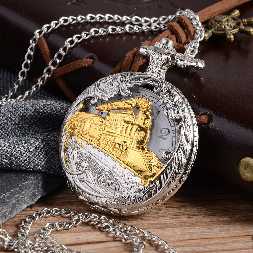 цена на Cindiry Vintage Silver Charming Gold Train Carved Openable Hollow Steampunk Quartz Pocket Watch Men Women Necklace Pendant Clock