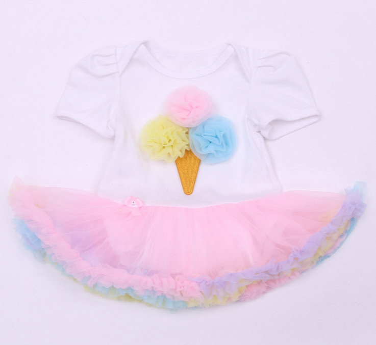 2017 Baby Romper Birthday Costumes Gifts Infant Toddler Girl Ice Cream Rompers Outfits Newborn Party Kids Jumpsuit Ruffle Dress