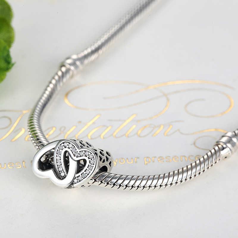 Реальные 100% стерлингового серебра 925 бисера Шарм блокировки Любовь Сердце Бусины подходят оригинальный Pandora браслет Цепочки и ожерелья DIY ювелирных