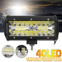 120W 7Inch 40LED Work Light Bar Flood Spot Combo Driving Lamp Waterproof 6000K LED Work Light