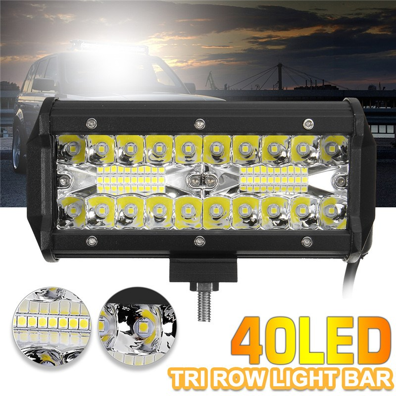 120W 7Inch 40LED Work Light Bar Flood Spot Combo Driving Lamp Waterproof 6000K LED Work Light For SUV ATV Truck Offroad Boat 4WD 7inch 18w with cree chip led car work light bar 4wd spot fog atv suv driving lamp led bar for offroad tractor driving lamp