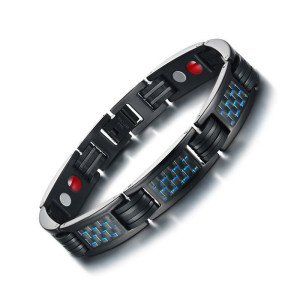 ZORCVENS Carbon Fiber Bio Energy Power Magnetic Bracelet for Men Bangle Stainless Steel Health Care Male Jewelry(China)