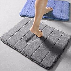 Image 3 - 1PC 40x60cm 홈 목욕 매트 미끄럼 방지 욕실 카펫 소프트 산호 양털 메모리 폼 깔개 매트 주방 화장실 바닥 장식