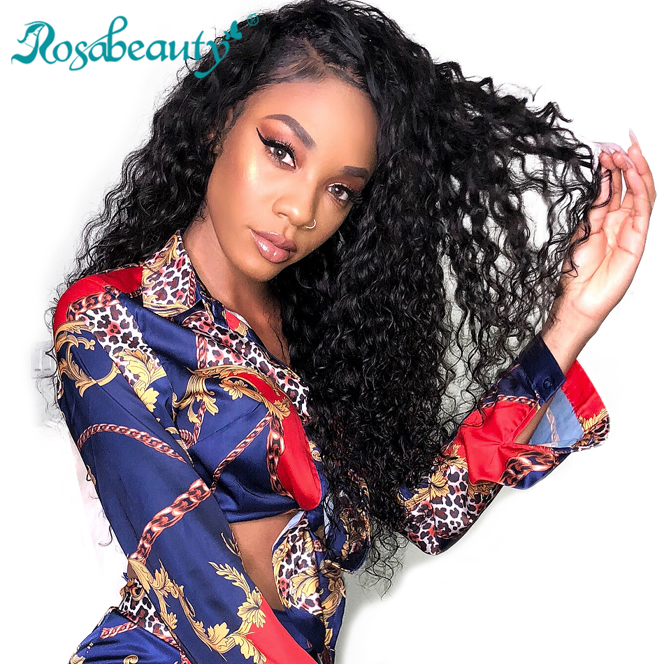 Rosabeauty Curly Lace Front Human Hair Wigs Brazilian Deep Wave Remy Hair Wigs For Black Women