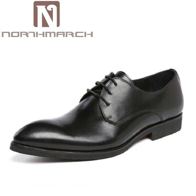 NORTHMARCH Men Dress Shoes Split Leather Men's Fashion Leather Shoes Lace-Up Pointed Toe Male Business Wedding Formal Shoes new 2018 fashion men dress shoes black cow leather pointed toe male oxfords business shoes lace up men formal shoes yj b0034 page 1