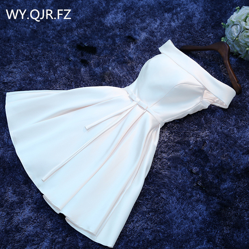 HJZY69#Boat Neck White Lace up Short Twill Satin Cloth   Bridesmaid     Dresses   Bride Wedding Party Toast   Dress   Gown Prom Wholesale