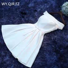 HJZY69 # Boat Neck biały zasznurować krótki Twill satynowa tkanina sukienki druhen ślub panny młodej Party tosty suknia balu hurtownie