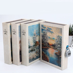 Image 1 - Scenery Retro A5 Diary Set with Lock Notebook line Organize Cute Password Planner Travel Journal Stationery Gift Box Bujo 2020