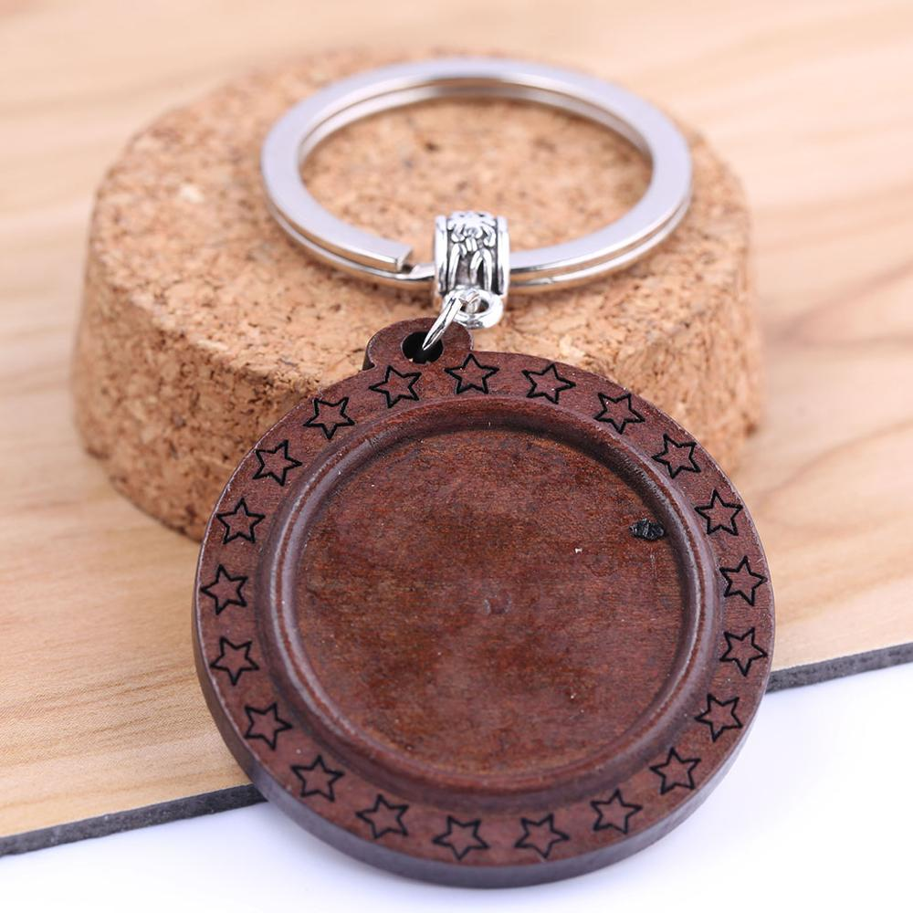 reidgaller 3pcs wood keychain cabochon base settings 25mm dia round blank bezel trays for key chain custom making diy findings in Key Chains from Jewelry Accessories