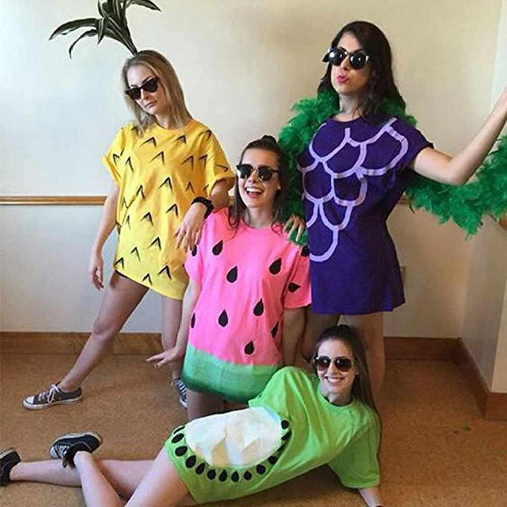 Женская футболка, платья, праздничные Вечерние платья на Хэллоуин с фруктовым принтом, повседневные платья с коротким рукавом в стиле хип-хоп, летнее пляжное платье