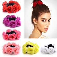 Big Rose Flower Elastics Hair Holders Rubber Bands Girls Women Cute Tie Gum Fabric Hot Wreaths Crowns Wedding Accessories