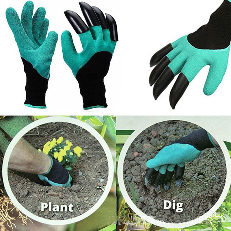 NMSafety Garden gloves for Dig Planting Rubber Polyester Builders Garden Work ABS Plastic Claws Safety Working Protective Gloves