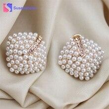 2017 New Fashion Jewelry Crystal Rhinestone Pearl Stud Earrings for Women Vintage Earrings Gifts For Women Lady Girls Wholesale