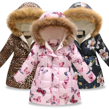 New Girls Warm Down Jackets Cotton Jacket Kids Printed Thick