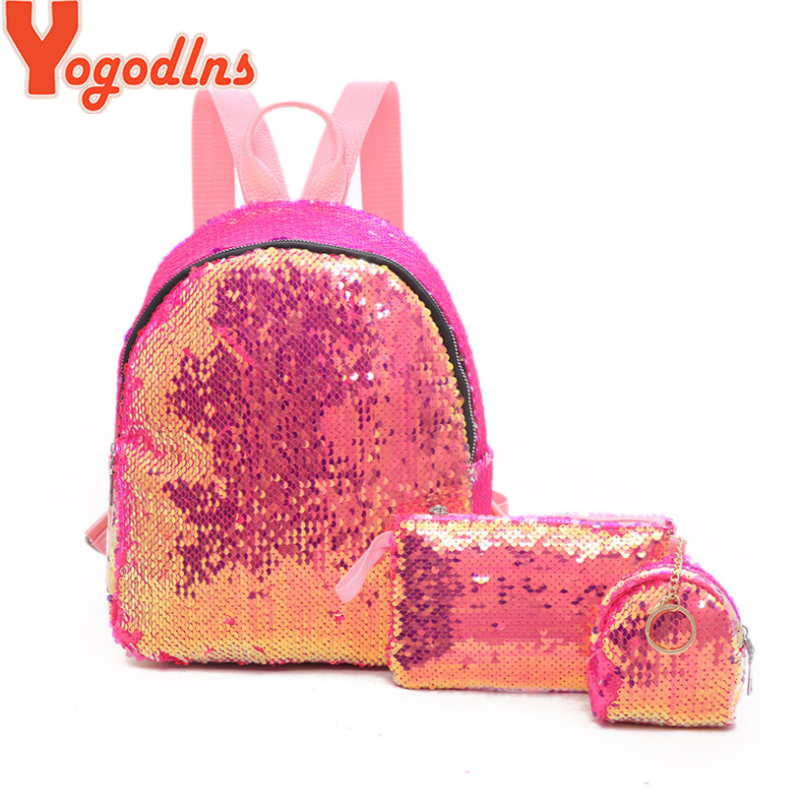Yogodlns 3pcs/set Mini Sequins Women Backpack Girls Fashion Simple School Shoulder Bag Female Travel Rucksack With Pencil Bag