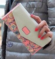 2016 Fashion Flower Women Wallet Flower Long Wallets Popular Change Purse Wallets Delicate Casual Lady Cash