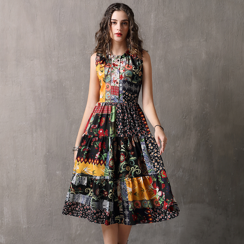 Summer Dress 2018 Yuzi.may Boho New Chiffon Vestidos O Neck Sleeveless Swing Hem Floral Print  Women Sundress A82105 Dress Femal-in Dresses from Women's Clothing    2