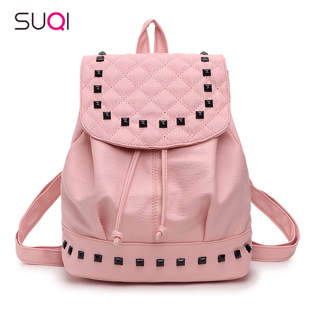 SUQI Pu Leather Rivets Drawstring Bag Women Backpack With Cover Fashion Backpack For Teenage Girl Student Schoolbag Can Put A4