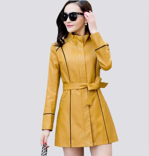 6b1ec3a792105 2018 spring Plus Size M L XL 2XL 3XL 4XL Leather Jacket Women Leather Coat  Long Slim Ladies Coats Jackets Female Yellow-in Leather   Suede from ...