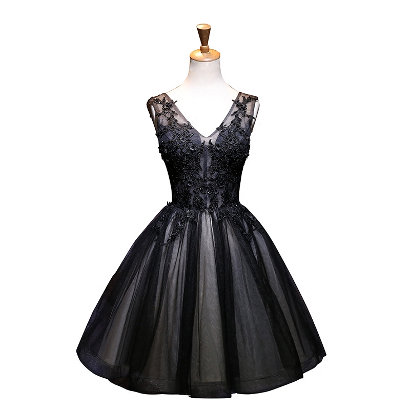 Holievery Black V Neck Tulle Robe   Cocktail     Dresses   with Lace Appliques 2020 Knee Length Party   Dress   sukienki koktajlowe