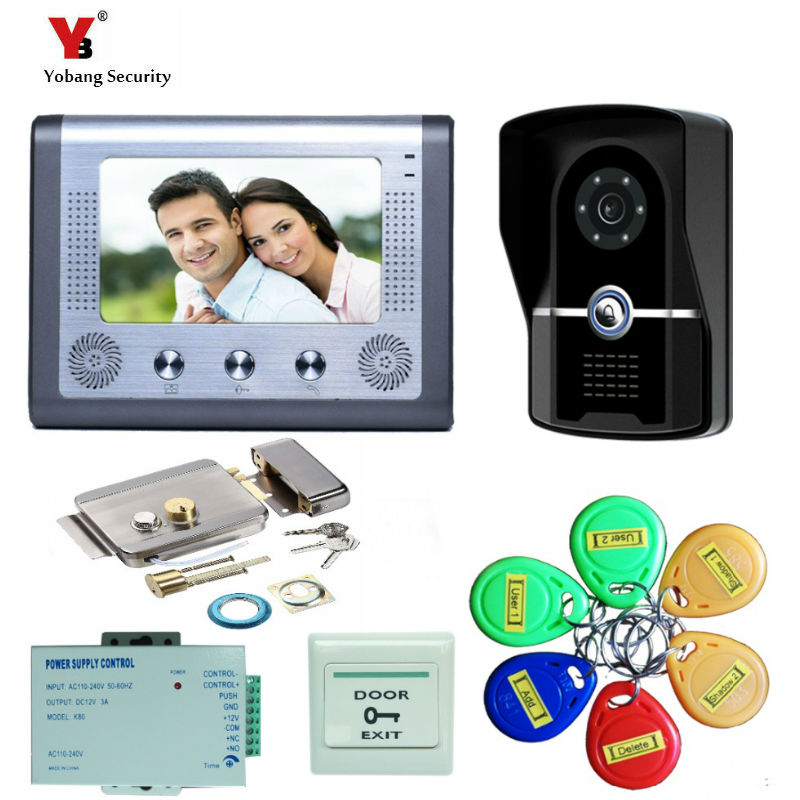 Yobang Security 7 Video Door Phone Video Intercom Doorbell Home Security IR Camera Monitor With Night Vision Intercom door bell new 7 inch color video door phone bell doorbell intercom camera monitor night vision home security access control