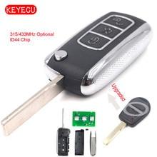 Keyecu ฟรีการเขียนโปรแกรมอัพเกรดรีโมทคอนโทรลกุญแจรถ FOB 315/433MHz ID44 ชิปสำหรับ Land Rover Range Rover 2002  2006/กีฬา 2006