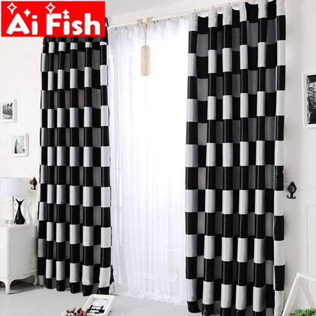 Simple Moderne Noir et gris Classique Rétro Plaid Blackout rideaux ...