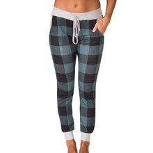 0ddc4d433cc07 Nouveau Femmes Casual Plaid Pantalons Longs Dames Cordon Vérifier Imprimer  Slim Occasionnel de Dames Taille Élastique