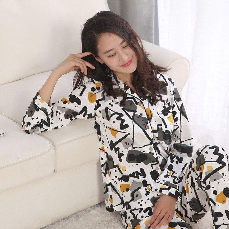 New Long-sleeved Pyjamas Women 100% Cotton   Pajamas   Art Paintings Pijama Mujer Womens   Pajama     Set   Plus Size Trousers Home 2 Piece
