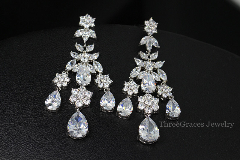 Luxury Evening Party Costume Jewelry Swiss Cubic Zirconia Long Dangle Bridal Bohemian Chandelier Earrings For Women Er212 In Drop From