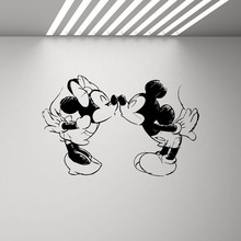 Mickey Mouse Minnie Kissing Wall Decal Kids Bedroom Children Room Wedding Cartoon Decor Vinyl Nursery Sticker LW131