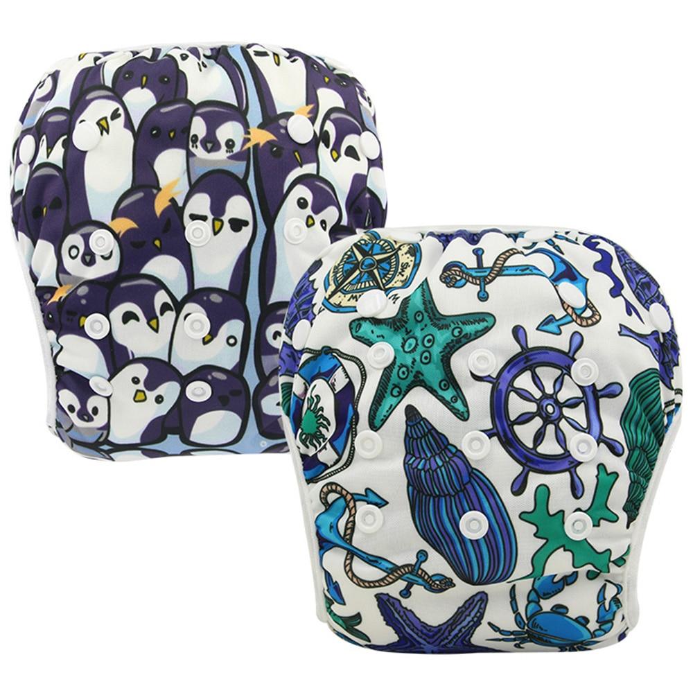 2PCS Ohbabyka Baby Swim Diaper Cover Animal Pattern Waterproof Swimming Diapers Infant Swimwear Reusable Pocket Diaper Nappies