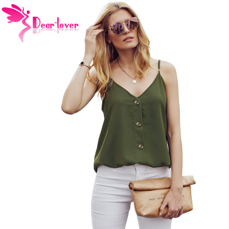 Womens Button Down V Neck Strappy Tank Tops Loose Sleeveless Shirts Blouses