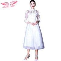 Slim Lace Collar Long Sleeved Short Bridesmaid Dresses Princess Bride Wedding Dress New Winter 313