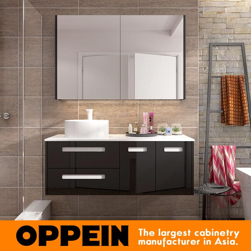 Us 899 0 Italian Modern Design Black Lacquer Storage Bathroom Mirror Cabinet With Basin Bc17 L03 On Aliexpress