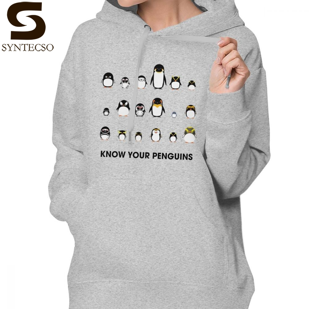 Penguin Hoodie Know Your Penguins Hoodies Long Sleeve Streetwear Hoodies Women Plus Size White Cotton Kawaii Pullover Hoodie