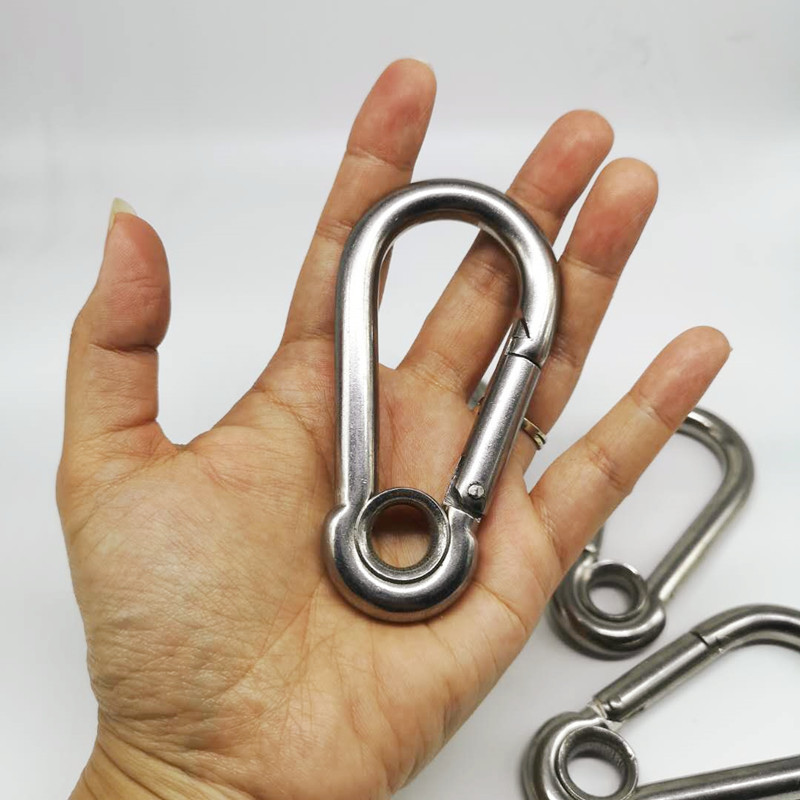 4PCS 100mm M10 Silver 304 Stainless Steel Carabiner Spring Camping Climbing Secure Lock Snap Hook Eyelet Link