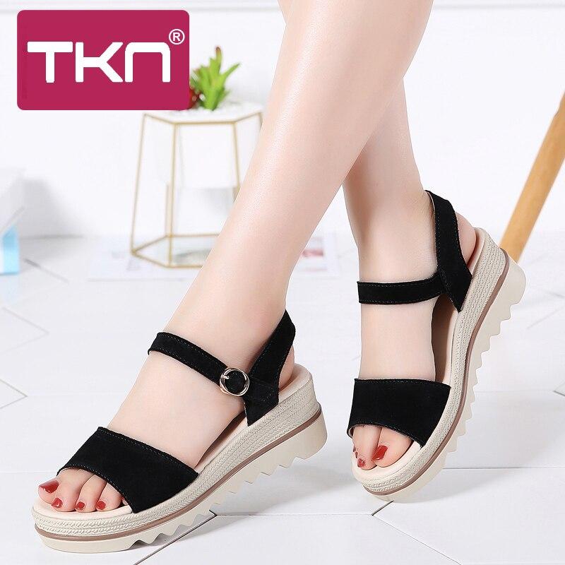 64fcdabb7b9 TKN 2019 Summer Women Platform Sandals Shoes Leather Suede Wedge Sandals  Ladies Sandalias Shoes Gladiator Sandals